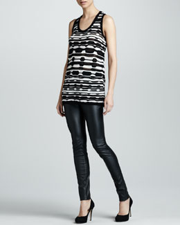 M Missoni Ladder Striped Tunic  & Faux Leather Leggings