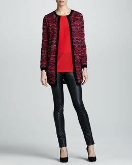 M Missoni Ladder Striped Long Cardigan, Silk Boxy Blouse & Faux Leather Leggings
