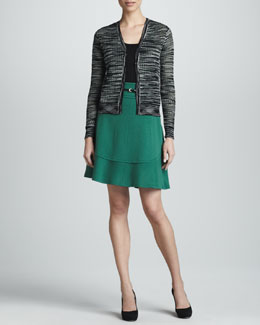 M Missoni Space-Dye Mesh Knit Cardigan, Zigzag Tank & Leaf Wool A-line Skirt