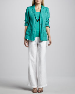 Eileen Fisher Handkerchief Linen Notch-Collar Jacket, Organic Cotton Tank & Heavy Linen Trousers