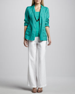 Eileen Fisher Handkerchief Linen Notch-Collar Jacket, Organic Cotton Tank & Heavy Linen Trousers, Women's