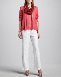 Eileen Fisher Silk-Linen Angled Cardigan, Silk Jersey Tank & Heavy Linen Trousers, Petite