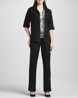 Caroline Rose Linen Combo Shirt, Animal-Print Tank & Straight-Leg Pants, Petite
