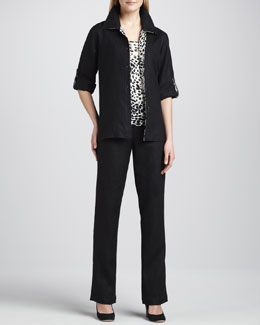 Caroline Rose Linen Combo Shirt, Animal-Print Tank & Straight-Leg Pants, Women's