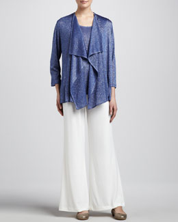 Caroline Rose Shimmer Knit Cardigan, Tank & Stretch-Knit Wide-Leg Pants, Petite