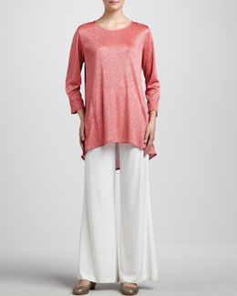 Caroline Rose Shimmer Knit Tunic & Stretch-Knit Wide-Leg Pants