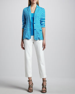 Joan Vass Striped Knit Jacket, Cotton Rib Tank & Slim Ponte Ankle Pants, Women's