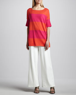 Joan Vass Striped Boxy Sweater & Ponte Wide-Leg Pants