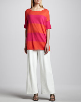 Joan Vass Striped Boxy Sweater & Ponte Wide-Leg Pants, Petite