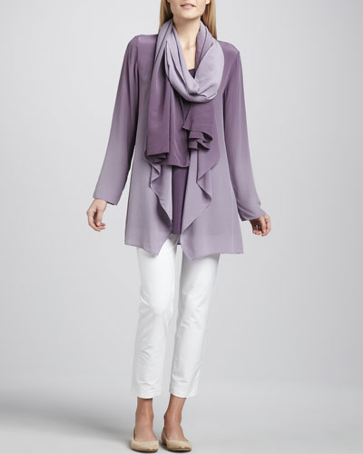 Eileen Fisher Ombre Silk Jacket, Sleeveless Jersey Tunic & Ombre Silk Scarf & Slim Ankle Pants