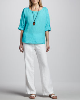 Eileen Fisher Rolled-Sleeve Linen Top & Heavy Linen Trousers, Petite
