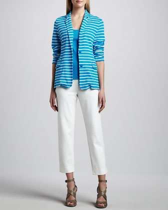 Striped Knit Jacket, Cotton Rib Tank & Slim Ponte Ankle Pants
