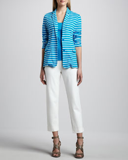 Joan Vass Striped Knit Jacket, Cotton Rib Tank & Slim Ponte Ankle Pants, Petite