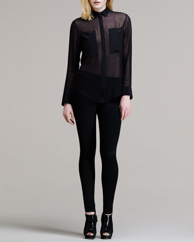 T by Alexander Wang Sheer Patch-Front Shirt & High-Waisted Stretch Skinny Jeans