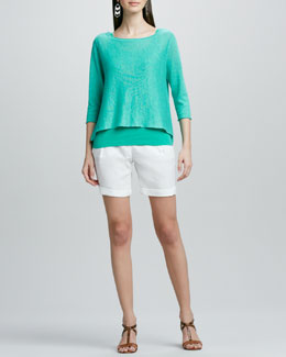 Eileen Fisher Lightweight Linen Pullover Top, Organic Cotton Tank & Organic Linen City Shorts