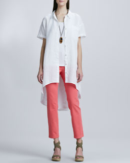 Eileen Fisher Handkerchief Linen Layer Dress, Organic Cotton Long Tank & Skinny Ankle Jeans, Petite