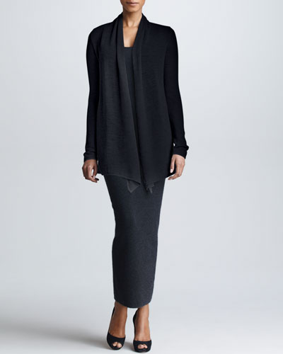 Donna Karan Drape-Front Cashmere Cozy, Knit Tank & Fitted Maxi Skirt