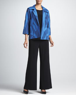 Caroline Rose Sheer Swirl Easy Shirt, Stretch-Knit Long Tank &  Wide-Leg Stretch Pants