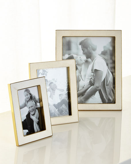 """Cream Faux-Shagreen 8"""" x 10"""" Picture Frame"""