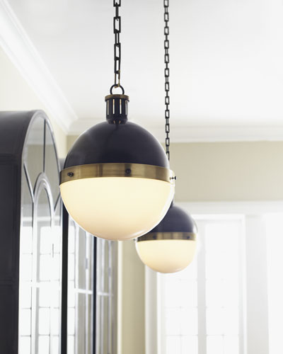 Hicks Bronze with Antiqued Brass Pendant Light