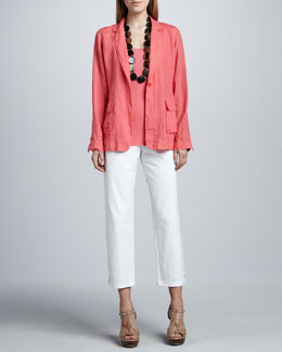 Eileen Fisher Handkerchief Linen Notch-Collar Jacket, Organic Cotton Tank & Slim Ankle Pants
