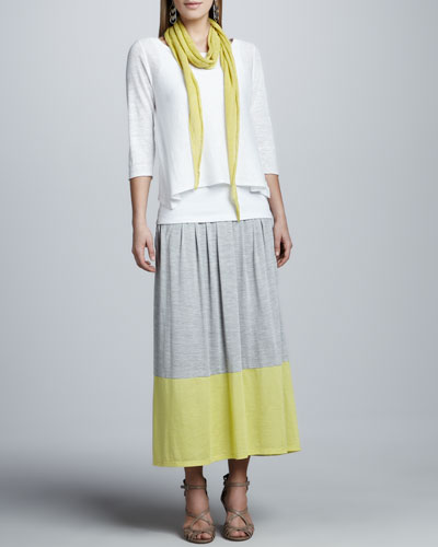 Eileen Fisher Boxy Linen Top, Organic Cotton Slim Tank, Parallelogram Scarf & Colorblock Jersey Skirt