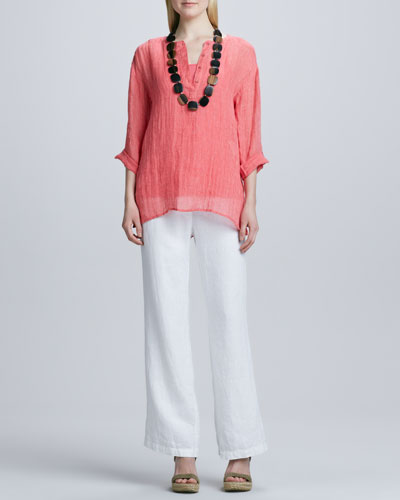 Eileen Fisher Striped Linen Henley Shirt, Organic-Cotton Long Tank & Heavy Linen Trousers