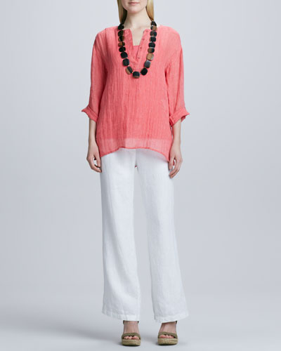 Eileen Fisher Striped Linen Henley Shirt, Organic-Cotton Long Tank & Heavy Linen Trousers, Petite