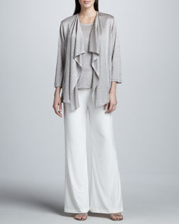 Caroline Rose Taupe-Silver Shimmer Knit Cardigan, Tank & Stretch-Knit Wide-Leg Pants