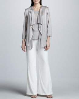 Caroline Rose Taupe-Silver Shimmer Knit Cardigan, Tank & Stretch-Knit Wide-Leg Pants, Petite