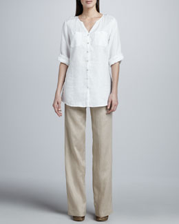 Go Silk Linen Button-Front Tunic & Straight-Leg Pants