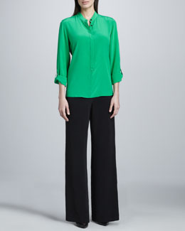 Go Silk Silk Popover Tab-Sleeve Blouse & Full-Leg Pants