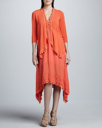 Embroidered-Trim Cardigan & Anguin Embroidered Knit Dress