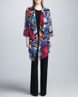 Caroline Rose Sunrise Printed Long Jacket, Long Stretch Tank & Stretch-Knit Slim Pants