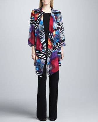 Sunrise Printed Long Jacket, Long Stretch Tank & Stretch-Knit Slim Pants, ...