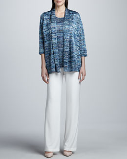 Caroline Rose Color Crush Cardigan, Tank & Stretch-Knit Straight-Leg Pants