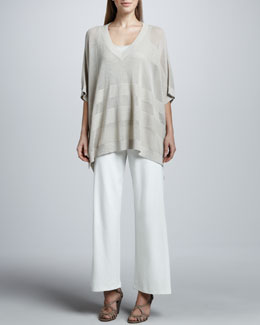 Joan Vass Oversized Mesh-Jersey Sweater, Cotton Rib Tank & Wide-Leg Interlock Pants
