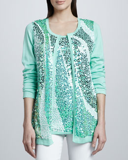 Berek Wavy Sequined Cardigan & Shell