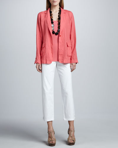 Eileen Fisher Handkerchief Linen Notch-Collar Jacket, Organic Cotton Tank & Slim Ankle Pants, Petite