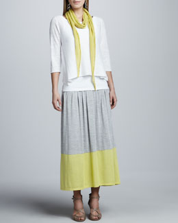 Eileen Fisher Boxy Linen Top, Slim Tank, Parallelogram Scarf & Colorblock Jersey Skirt Women's