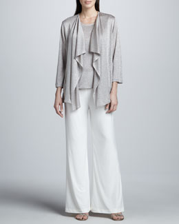 Caroline Rose Taupe-Silver Shimmer Knit Cardigan, Tank & Stretch-Knit Wide-Leg Pants,  Women's