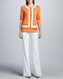 Misook Natasha Colorblock-Trim Boxy Jacket, Amy Tank & Boot-Cut Pants
