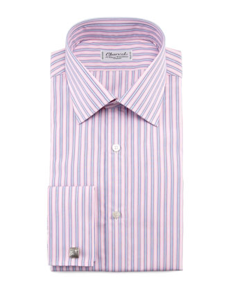 Striped French-Cuff Dress Shirt & Neat-Stripe Silk Tie