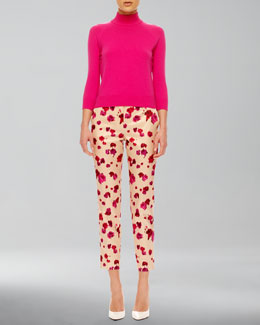 Michael Kors  Mock-Neck Cashmere Top & Cropped Floral-Print Pants