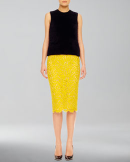 Michael Kors  Fuzzy Knit Shell & Lace Pencil Skirt