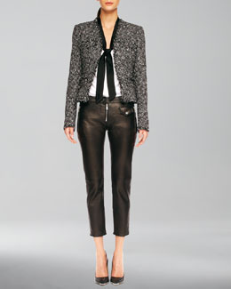Michael Kors  Fringe-Trim Tweed Jacket, Tie-Neck Blouse, & Leather Zip Cropped Pants