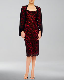 Michael Kors  Lace-Front Cashmere Cardigan & Fitted Sleeveless Lace Dress