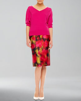 Michael Kors  V-Neck Cashmere Top & Printed Shantung Pencil Skirt