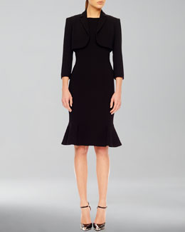 Michael Kors  Stretch Bolero & Flare-Hem Crepe Dress