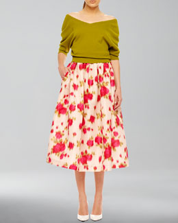 Michael Kors  Off-The-Shoulder Cashmere Top & Full Floral-Print Skirt